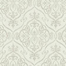 Beige/Light Taupe/Silver Glitter Damask Wallcovering by York