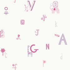 Off White/Powder Pink/Lavender Letters Wallcovering by York