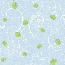 Powder Blue/Soft Green/White Scroll Wallcovering by York