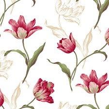 White/Off Whites Stems Wallcovering by York